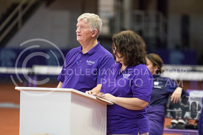 Officials watch the high jump event at the K-State track meet in Ahearn Field House on Feb. 17, 2017. (John Benfer | The Collegian)
