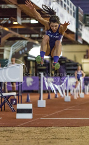 Senior Zanri Van Der Merwe jumps in the long jump event at the K-State track meet in Ahearn Field House on Feb. 17, 2017. (John Benfer | The Collegian)