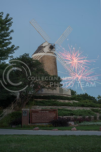 Fireworks explode behind the Old Dutch Mill in Wamego on July 4, 2016. (Evert Nelson | The Collegian)