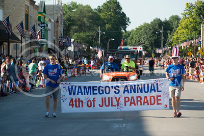 A banner signals the start of the July 4th parade through downtown Wamego. This year marks the towns 150th year and featured annual festivities. (Evert Nelson | The Collegian)