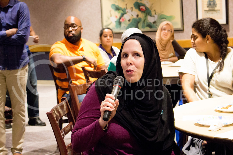 "Sara Thurston, director of International Student Affairs, shares her experience with her hijab  during the ""A Day in A Hijab"" debriefing in the student union on April. 19. (Alanud Alanazi 
