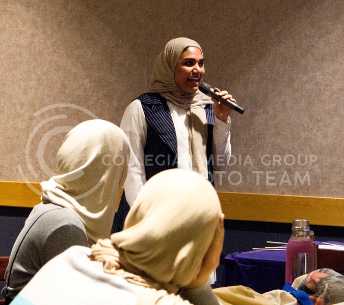 "Lolwa Alfoudari, junior in Architectural Engineering, gives a speech over hijab culture during  the ""A Day in A Hijab"" debriefing in the student union on April. 19. (Alanud Alanazi 
