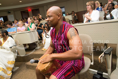 Ricardo Amunjera, from Namibia, beats on a drum at Africulture event on July 16, 2016 in the Leadership Studies building. Amunjera is one of 24 Mandela Washington Fellows who shared Africa culture while in Manhattan. (Evert Nelson | The Collegian)