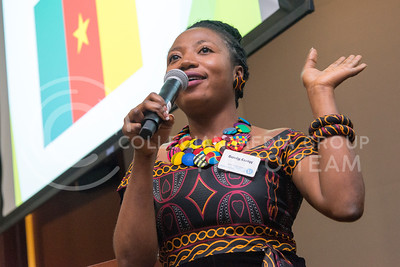 Mercy Kyeng, from Camaroon, talks about her country during Africulture on July 16, 2016 in the Leadership Studies building. Kyeng is one of 24 Mandela Washington Fellows who presented Saturday in the Town Hall room. (Evert Nelson | The Collegian)