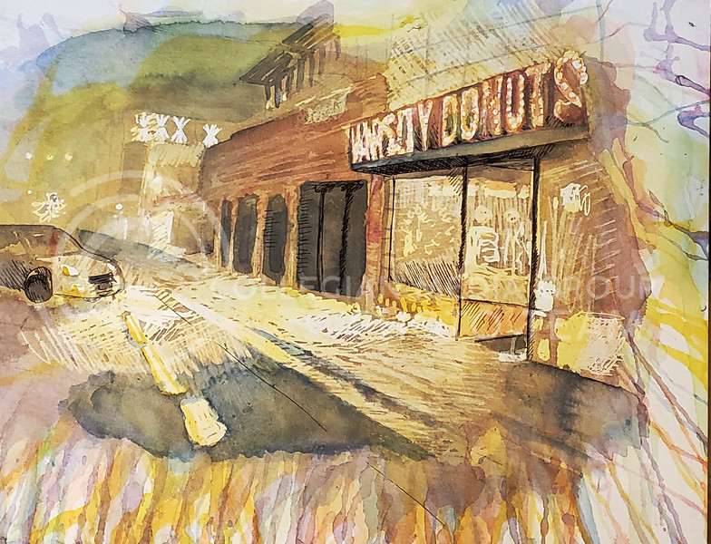 Watercolor illustration showing Aggieville in the morning. This work was completed May 10, 2020 (Abigail Compton | Collegian Media Group)