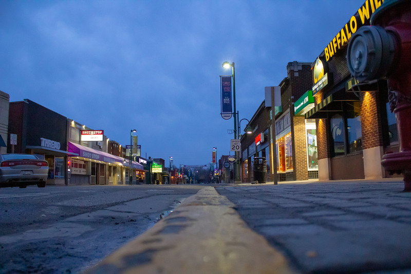 Aggieville shines with rain in the morning. The popular location may be undergoing some changes shortly. (Abigail Compton | Collegian Media Group)