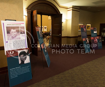 Posters line the entrance into the room where the heart screening that was sponsored by the Anthony Bates Foundation was held on Sept. 11, 2016. (Anna Spexarth | The Collegian)