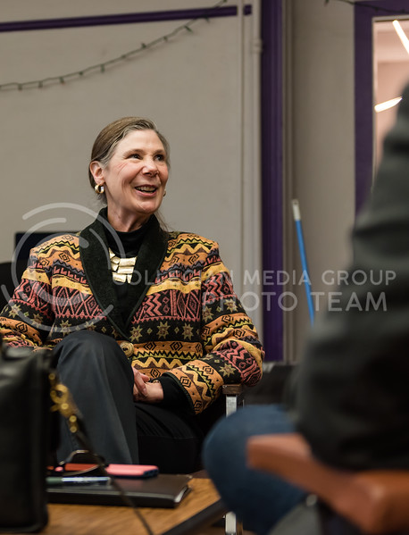 Smiling at a statement, Kansas State Provost April Mason continues to explain an answer. Mason visited the K-State Collegian Newsroom on Monday for a Q&A. (Olivia Bergmeier | Collegian Media Group)