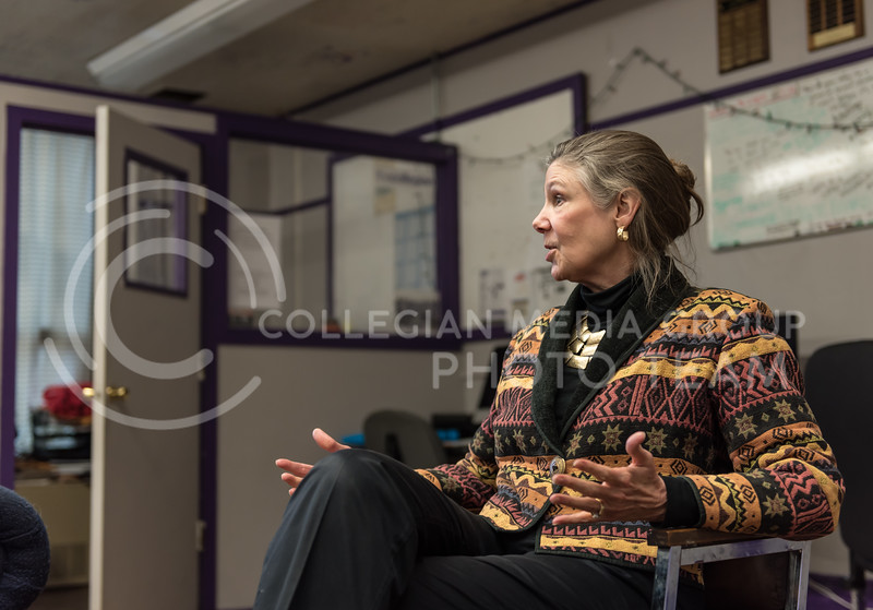 As she further explains an answer, Kansas State Provost April Mason uses her hands to help clearify a point. Mason visited the K-State Collegian Newsroom on Monday for a Q&A. (Olivia Bergmeier | Collegian Media Group)
