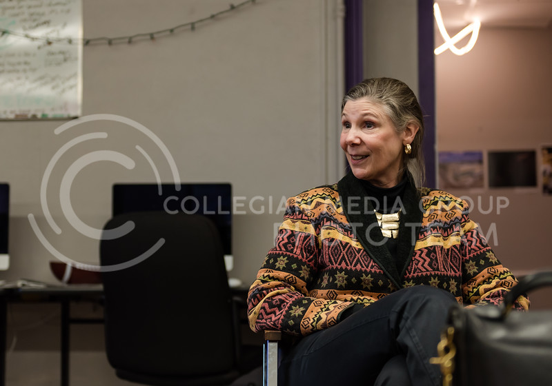 Answer a question, Kansas State Provost April Mason smiles as she states her answer.  Mason visited the K-State Collegian Newsroom on Monday for a Q&A. (Olivia Bergmeier | Collegian Media Group)