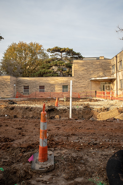 Construction on a new retaining pool for the  College of Architecture. (Jordan Koster | Collegian Media Group)