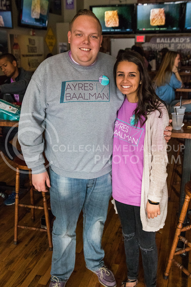Running mates Jack Ayres and Olivia Baalman pose togehter at the Ayres Baalman Rally in Johnny Kaw's Sports Bar on Feb. 11, 2017. (John Benfer   The Collegian)
