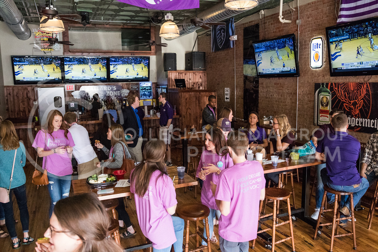 Students and community members gather and converse at the Ayres Baalman Rally in Johnny Kaw's Sports Bar on Feb. 11, 2017. (John Benfer   The Collegian)