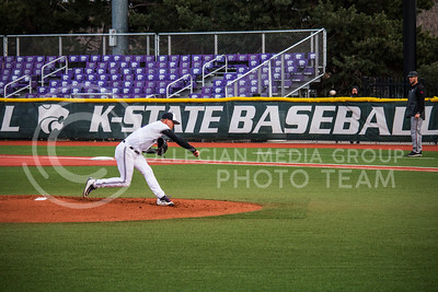 Senior, Colton Kalmus, pitches with K-State against University of Nebraska-Omaha on Wednesday at Tointon Family Stadium (Logan Wassall | The Collegian)