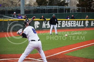 Senior, Steve Serratore, bats with K-State against University of Nebraska-Omaha on Wednesday at Tointon Family Stadium (Logan Wassall | The Collegian)