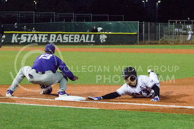Freshman infielder Cameron Thompson dives for first base during the game against TCU at Tointon Family Stadium on March 31, 2017. (Maddie Domnick | The Collegian)