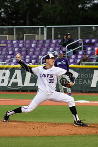 Junior right handed pitcher Justin Heskett pitches the ball during the game against TCU at Tointon Family Stadium on March 31, 2017. (Maddie Domnick | The Collegian)