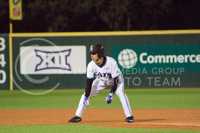 Freshman infielder Cameron Thompson waits for the ball to be hit during the game against TCU at Tointon Family Stadium on March 31, 2017. (Maddie Domnick | The Collegian)