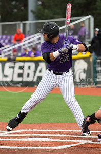 Senior first baseman, Jake Scudder, prepares for the pitch during his at bat during the K-State game against TCU at Tointon Stadium on Apr. 1 2017. (Sabrina Cline | The Collegian)