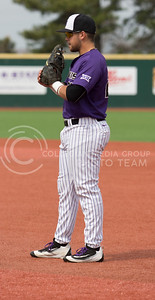 Senior first baseman, Jake Scudder, awaits the play in the field during the K-State game against TCU at Tointon Stadium on Apr. 1 2017. (Sabrina Cline | The Collegian)