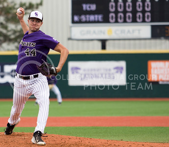 Sophomore right hand pitcher, Mitch Zubradt, pithces the ball during the K-State game against TCU at Tointon Stadium on Apr. 1 2017. (Sabrina Cline | The Collegian)
