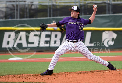 Senior left hand pitcher, Parker Rigler, pitches the ball during the K-State game against TCU at Tointon Stadium on Apr. 1 2017. (Sabrina Cline | The Collegian)
