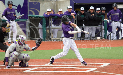 Senior third baseman, Josh Ethier, swings during his at bat at the K-State game against TCU at Tointon Stadium on Apr. 1 2017. (Sabrina Cline | The Collegian)