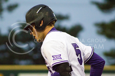 Sophomore infielder Grant Reuben jogs to the dugout during the game against TCU at Tointon Family Stadium on March 31, 2017. (Maddie Domnick | The Collegian)
