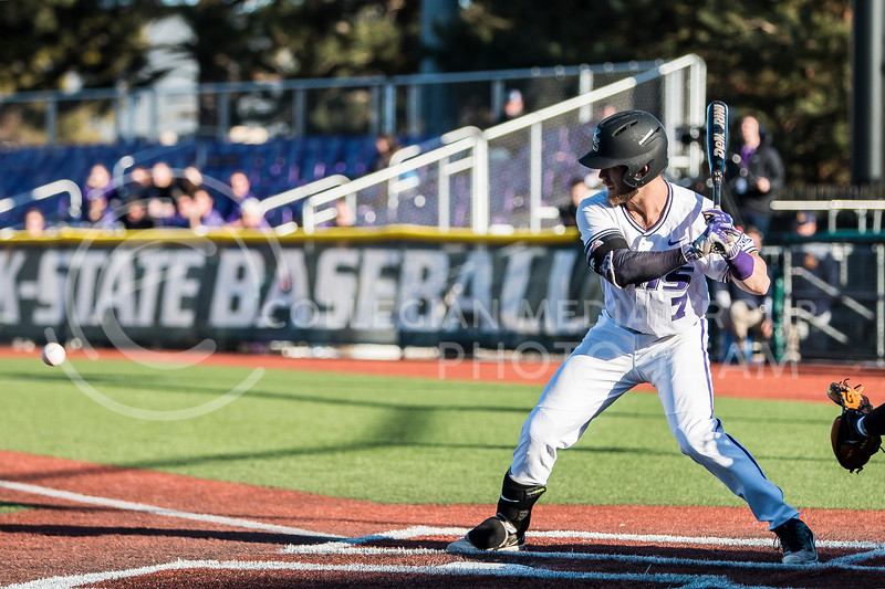 Senior infielder, Jake Biller, prepares for a pitch as he bats against La Salle in Tointon Family Stadium on Mar. 2, 2018. The Wildcats defeated the Explorers 9-3. (Logan Wassall | Collegian Media Group)