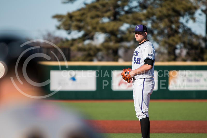 Sophomore pitcher, Kasey Ford, pitches against La Salle in Tointon Family Stadium on Mar. 2, 2018. The Wildcats defeated the Explorers 9-3. (Logan Wassall | Collegian Media Group)