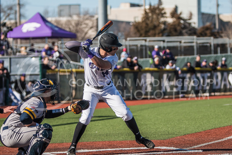 Junior infielder, Rainer Ausmus, prepares for a pitch as he bats against La Salle in Tointon Family Stadium on Mar. 2, 2018. The Wildcats defeated the Explorers 9-3. (Logan Wassall | Collegian Media Group)