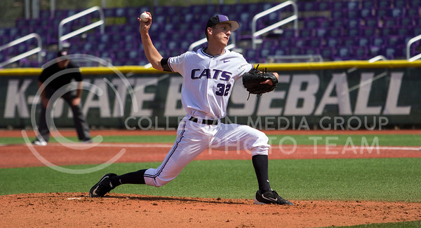 Sophomore right hand pitcher, Brogan Heinen, pitches the ball during the K-State game against New Mexico at Tointon Stadium on Apr. 18 2017. (Sabrina Cline | The Collegian)