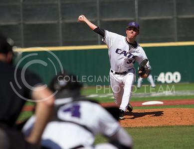 Freshman right hand pitcher, Jared Marolf, pitches the ball during the K-State game against New Mexico at Tointon Stadium on Apr. 18 2017. (Sabrina Cline | The Collegian)