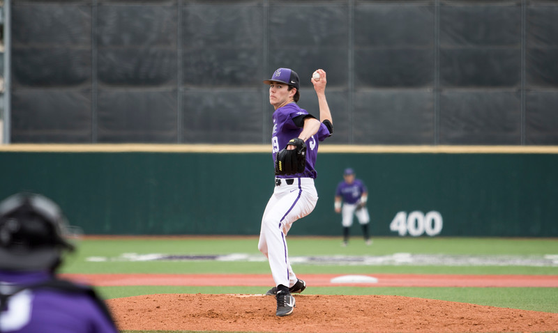 Sophomore right hand pitcher Caleb Littlejim pitches the ball during the game against Oklahoma State at Tointon Family Stadium on Apr. 9 2018. ( Sabrina Cline | Collegian Media Group )