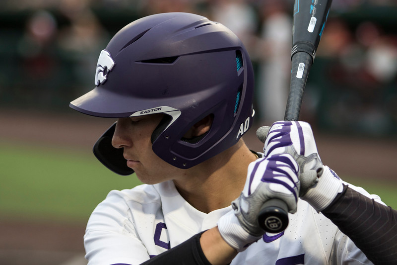 Junior outfielder Will Brennan prepares for his at bat in the on deck circle during the game against Oklahoma on April 26, 2019. ( Sabrina Cline | Collegian Media Group )
