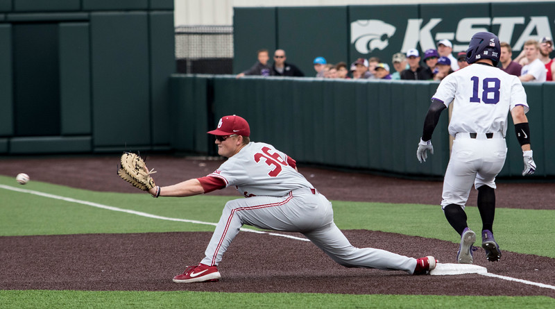 Junior outfielder Will Brennan beats out the throw to make it safe to first base during the game against Oklahoma on April 26, 2019. ( Sabrina Cline | Collegian Media Group )