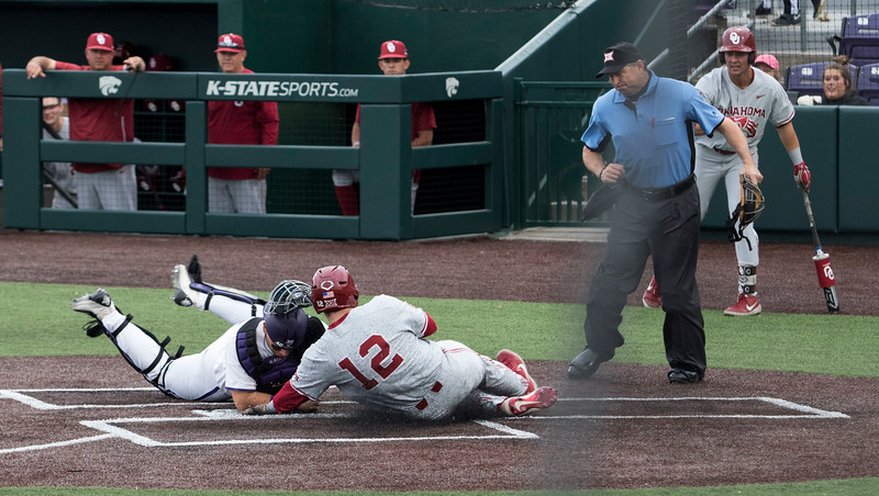 Junior catcher, Chris Ceballos fields the throw and makes a tag at home plate during the game against Oklahoma on April 26, 2019. ( Sabrina Cline | Collegian Media Group )