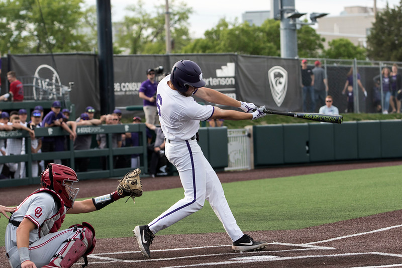 Sophomore infielder Terrence Spurlin swings at the pitch during the game against Oklahoma on April 26, 2019. ( Sabrina Cline | Collegian Media Group )