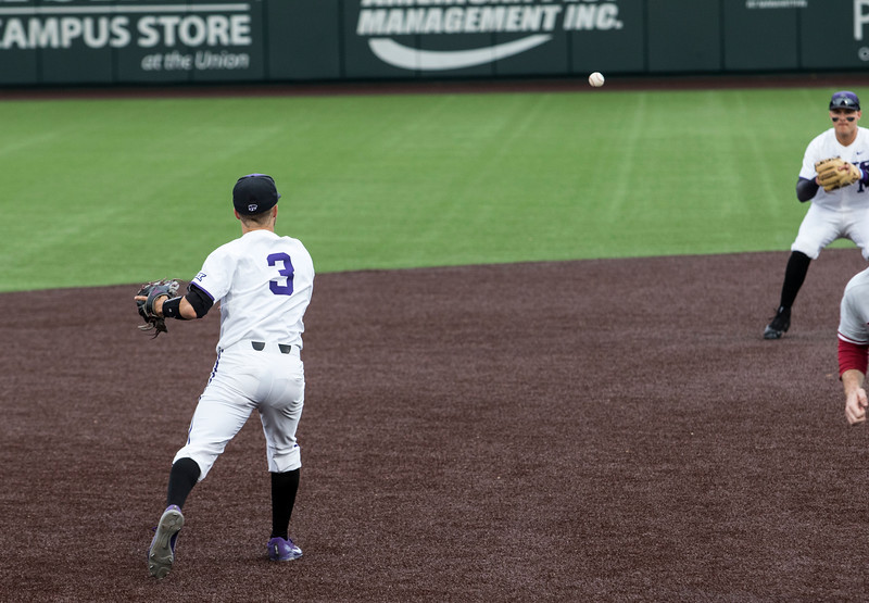 Junior third baseman Cameron Thompson fields a ground ball and throws to second base for the out during the game against Oklahoma on April 26, 2019. ( Sabrina Cline | Collegian Media Group )