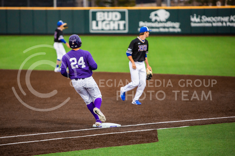 Sophomore outfielder Dylan Phillips runs safely to first base during K-State's baseball game against South Dakota State in Tointon Family Stadium on March 10, 2020. The Jackrabbits beat the Wildcats 4-0. (Logan Wassall | Collegian Media Group)