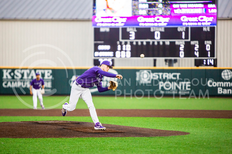 Senior pitcher Caleb Littlejim throws a pitch during K-State's baseball game against South Dakota State in Tointon Family Stadium on March 10, 2020. The Jackrabbits beat the Wildcats 4-0. (Logan Wassall | Collegian Media Group)