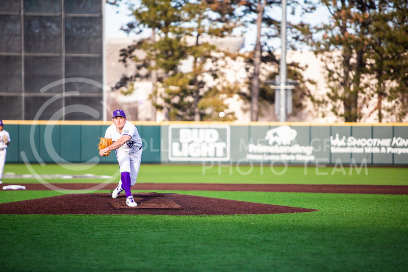 Sophomore pitcher Dylan Phillips throws a pitch during K-State's baseball game against South Dakota State in Tointon Family Stadium on March 11, 2020. The Wildcats beat the Jackrabbits 10-0. (Logan Wassall | Collegian Media Group)