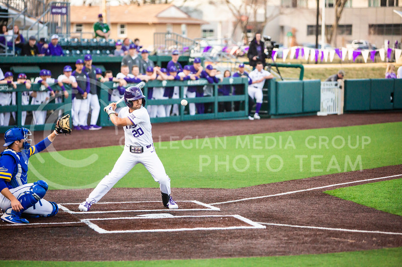 Sophomore infielder Daniel Carinci watches as a pitch goes by during K-State's baseball game against South Dakota State in Tointon Family Stadium on March 11, 2020. The Wildcats beat the Jackrabbits 10-0. (Logan Wassall | Collegian Media Group)