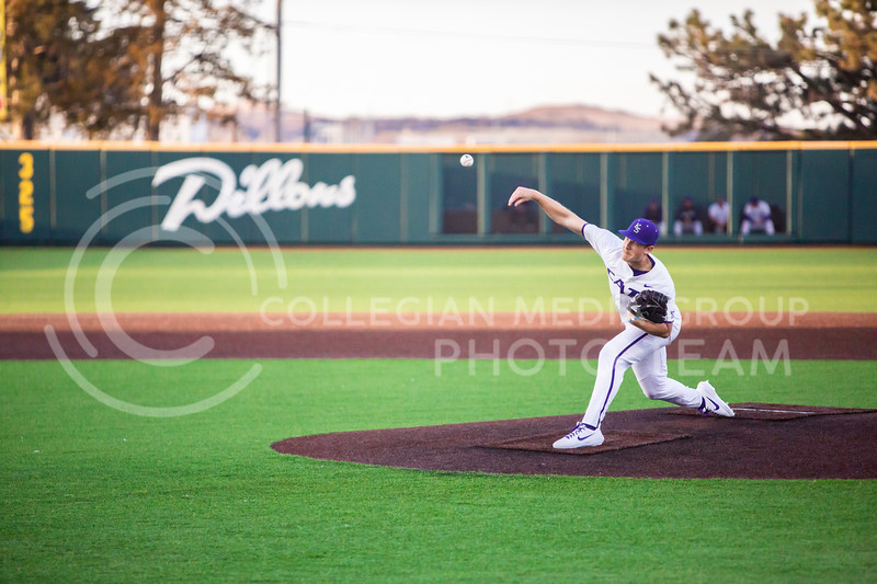 Junior pitcher Zak Herbers throws a pitch during K-State's baseball game against South Dakota State in Tointon Family Stadium on March 11, 2020. The Wildcats beat the Jackrabbits 10-0. (Logan Wassall | Collegian Media Group)
