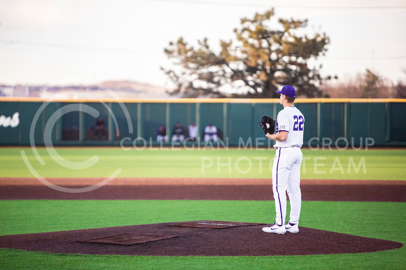 Junior pitcher Zak Herbers prepares for a pitch during K-State's baseball game against South Dakota State in Tointon Family Stadium on March 11, 2020. The Wildcats beat the Jackrabbits 10-0. (Logan Wassall | Collegian Media Group)