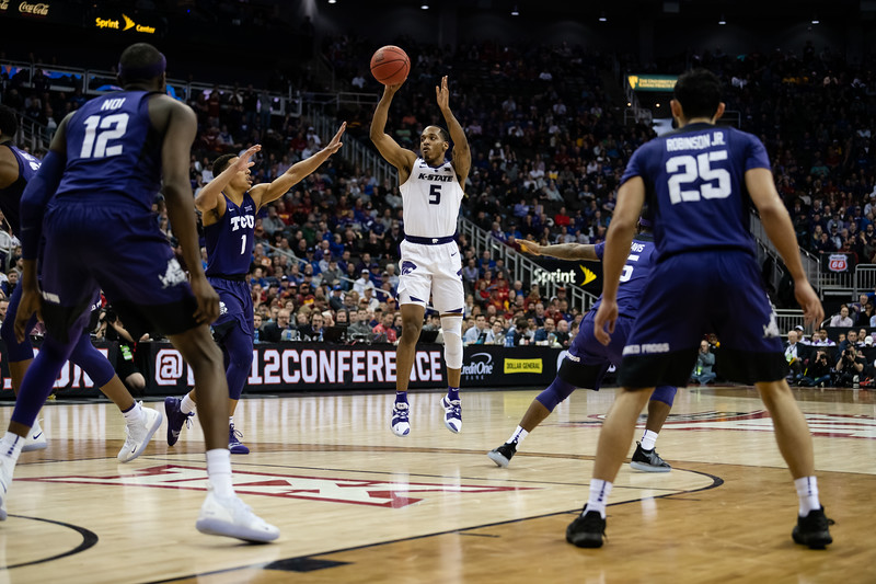 The K-State Wildcats faced off against the Texas Christian University Horned Frogs in their first game of the Big 12 Tournament in the Sprint Center in Kansas City, MO, finding victory with a finish of 70-61. (Olivia Bergmeier   Collegian Media Group)