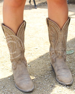 Johnson's boots include a lot of stitching to create the design. (Miranda Snyder | The Collegian)