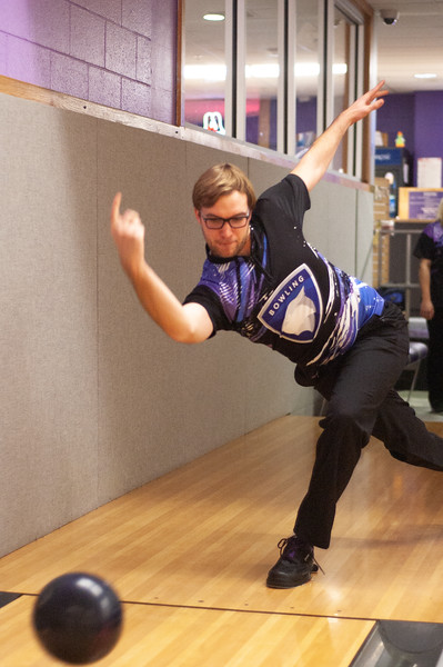 Isaac Wright sends his bowling ball flying down the lane while bowling at the Wabash Canon Bowl in the Union. Wright, senior in biological systems, is a member of the Kansas State bowling team and practices with them every Tuesday in the Union. (Photo by Rowan Jones)