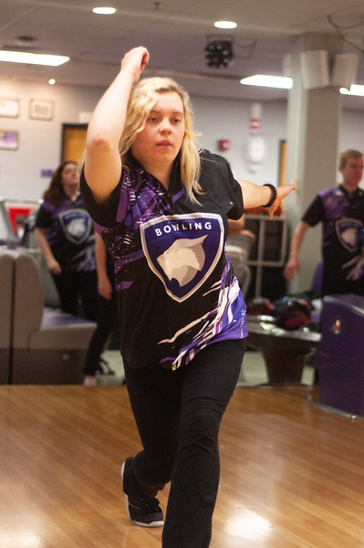 Senior in modern languages, Larissa Ester, practices her form while at a Kansas State bowling team practice. The bowling team meets every Tuesday at the Wabash Canon Bowl in the Union. (Photo by Rowan Jones)