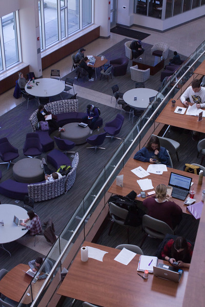 The Business Administration Building is a hub of activity during the day. The Student Governing Association unanimously passed a resolution pushing for an extension of the building's hours. (Rachel Hogan | Collegian Media Group)